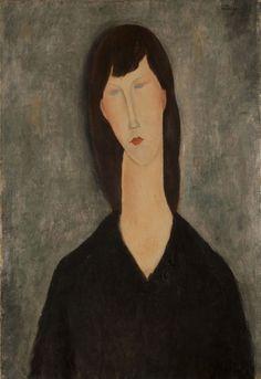 Busto De Mulher (Buste De Femme) - Modigliani, Amedeo | ORIGEM: Larco, Atilio GÊNERO: retrato, figura, escola de París SUPORTE: Sobre tela DIMENSÕES: 73 x 50 cm. Marco: 94,5 x 73 x 7,5 cm