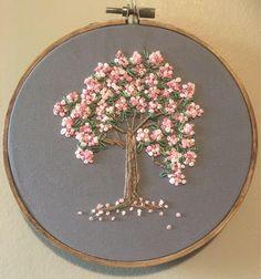Embroidery frame cherry blossoms, hand-embroidered handmade from a .- Stickrahmen Kirschblüten, handbestickt handgefertigt aus einem … Embroidery frame cherry blossoms, hand-embroidered handmade from a … blossoms - Hand Embroidery Flowers, Hand Embroidery Stitches, Silk Ribbon Embroidery, Hand Embroidery Designs, Cross Stitch Embroidery, Machine Embroidery, Embroidery Ideas, French Knot Embroidery, Simple Embroidery