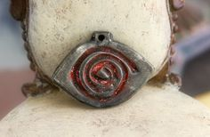 Red Spiral Eye Tribal Pewter Pendant P221 by EtinifniComponents, $15.00