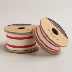 Red Ticking Stripe Woven Ribbon | World Market