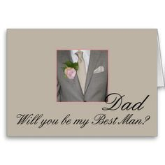 Dad Best Man request Grey Suit Greeting Cards