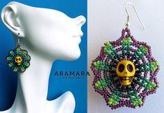 Huichol Skull Earrings 016 Mexican earrings Huichol earrings