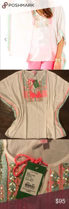 Lily Pulitzer Size S/M Resort Cafton Top Popular item, sold out online. Caftan top with embroidered details around neck and hem. Never worn, new with tags. Lilly Pulitzer Tops Tunics