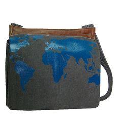 ideetje tas zelf maken en kaart van de wereld erop flocken