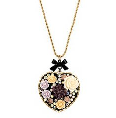 Product: Betsey Johnson® Flower Heart Long Pendant Necklace