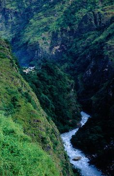 The village of Jagat (1300m) situated above the Marsyangdi Khola (river) on the Annapurna Circuit trek.