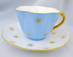 Set of 3 Shelley Dainty Collection Gold Star Tea Cup and Saucer | eBay
