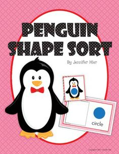 Penguin shape sorting activity cards