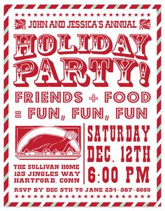 party invitations - Holiday Party Poster by Gakemi Art+Design