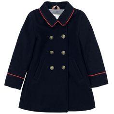 Petit Bateau Navy blue woollen cloth reefer jacket Blue - 49796   Melijoe.com