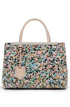 Fendi Granite' Multi Color Petite Tote 2400 for sale online White Leather Handbags, Leather Purses, Leather Crossbody, Shopper Tote, Satchel Purse, Fendi Tote, Fendi Bags, Fendi 2jours, Leather Bag Design