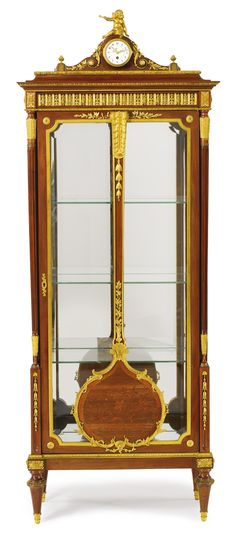 A LOUIS XVI STYLE GILT BRONZE MOUNTED MAHOGANY, SATINÉ AND BOIS DE BOUT FLORAL MARQUETRY VITRINE France, circa 1900