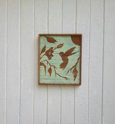 Reclaimed Wood Wall Art Hummingbird Silhouette Rustic Decor