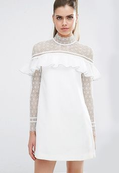 Self Portrait dress with frill and lace in white on model