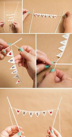 how to make a darling and simple bunting cake topper! Adorable simple DIY bunting cake topper using non-stick scissors and Duct Tape!Adorable simple DIY bunting cake topper using non-stick scissors and Duct Tape! Diy Bunting Cake Topper, Diy Bunting Banner, Cake Banner, Buntings, Bunting Ideas, Diy Mini Bunting, Outdoor Bunting, Garden Bunting, Doily Bunting