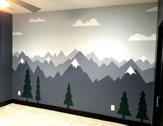 Kinderzimmer Mountain nursery beautiful nursery wall could do local landmark mountain child wall sti Baby Bedroom, Baby Boy Rooms, Nursery Room, Kids Bedroom, Nursery Decor, Nursery Ideas, Kids Rooms, Nursery Wall Murals, Trendy Bedroom