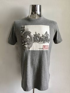 Vintage Men's 90's Biker T Shirt, Gray, Cotton, Short Sleeve by Life (M) by Freshandswanky on Etsy