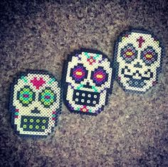 Sugar Skull Perler Bead Magnet by PrebreakofdawnCrafts on Etsy, $4.00