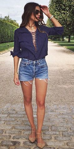 lace-up blouse, cut-offs, nude pointy flats