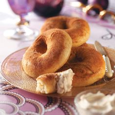 Eggnog Bagels Recipe -Crispy and chewy bagels from our recipe specialists rival any gourmet bakery brand. The fantastic spiced spread complements the cinnamon-sugar goodies.—Taste of Home Test Kitchen