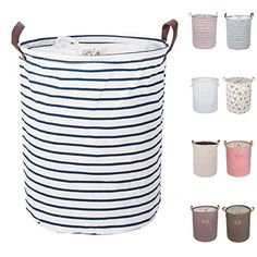 Buy DOKEHOM Large Laundry Basket Colors), Drawstring Waterproof Round Cotton Linen Collapsible Storage Basket (Blue Strips, M) Double Laundry Hamper, Collapsible Laundry Basket, Large Laundry Basket, Large Baskets, Laundry Baskets, Linen Storage, Laundry Storage, Laundry Hacks, Storage Baskets