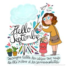 CDH: Hello Septembre ! Illustrations, Photo Illustration, Chillout Zone, Drawing Block, Organization Bullet Journal, Dorm Organization, Bullet Art, Journal Layout, Journal Inspiration