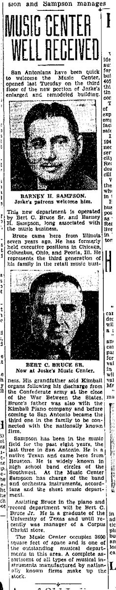 Barney Sampson  page 42 of: San Antonio Light November 12, 1939