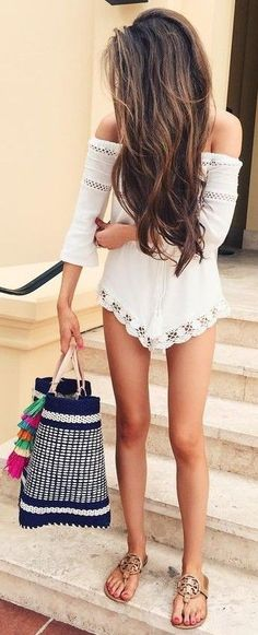 #summer #fashion #outfits   White Lace Off The Shoulder Romper