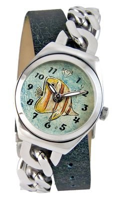 Tropical fish | Enamel Hand Painted Watch Diane Balit