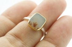 18 Karat Gold Bezel Sterling Silver Dendritic Agate Cushion Shape Stacking Ring Hammered Band One of Dendritic Agate, Moss Agate, Leaf Pendant, Stacking Rings, Heart Ring, Cushion, Gemstone Rings, Quartz, Shape