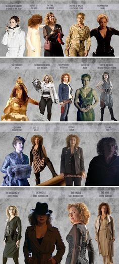 The Many Looks of River Song...they didn't always dress her well/to her body type but she's AMAZING!!