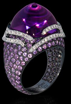"""Mousson Atelier New Age Collection """"""""Fuji"""""""" Gold 750 Amethyst and Sapphire Ring featuring 20.27ct Amethyst, 5.15ct Violet Sapphire and 0.76ct Diamond; 12.40g total weight"""