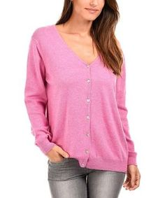 Pink Cashmere-Wool Blend V-Neck Cardigan by Zulily