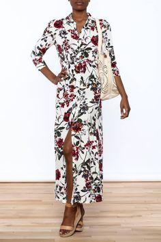 Floral print long sleeve collared shirt dress.   Floral Shirt Dress by Hommage. Clothing - Dresses - Floral Manhattan, New York City New York City