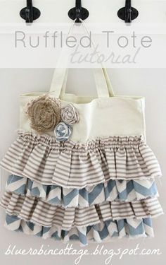 Fall Ruffled DYI Canvas Bag  I so wish I could sew, I need a bag for my Sunday school and bible and these are so cute