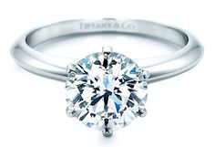 Tiffany engagement ring!  Tiffany setting,  six prong and round cut!  Love love love the classic and  traditional <3