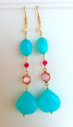 Peruvian opal, ruby, pearls and swarovski bezel in vermeil( gold plated Silver 925)