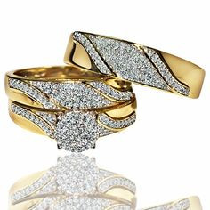 His and her rings Trio wedding set Yellow gold 0.5ct diamonds Mens and womens