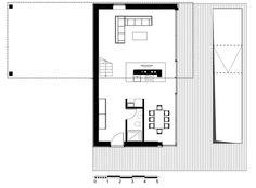 La casa ha sido construida con tres contenedores de 60 metroscuadrados cada uno. plano Planta Baja.