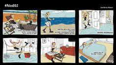 «Una cada holandesa» en la primera viñeta de Cuatro Pelos por Lola Barcia.