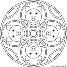 Glücksschweinchen - Mandala Ausmalbild Picture Puzzles, Three Little Pigs, Mandala Coloring Pages, Nouvel An, Horse Farms, Chinese New Year, Classroom Decor, Happy New Year, Doodles