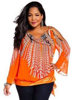 Ashley Stewart Womens Plus Size Web Exclusive: Stone Embellished Geometric Print Blouse Poppy Orange 2X