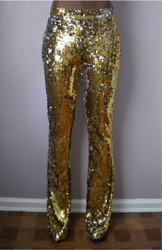 Gold Sequin Flare Pant by DanielaTabois on Etsy, $180.00