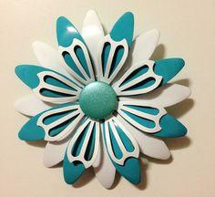 Turquoise & White Vintage Enamel Flower Pin