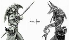 Egyptian God Horus And Anubis Tattoo Designs Anubis Tattoo, Osiris Tattoo, Horus Tattoo, Hamsa Tattoo, Tattoo Symbols, Future Tattoos, New Tattoos, Body Art Tattoos, Sleeve Tattoos