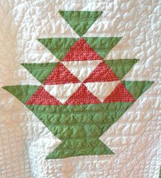 Detail, Fine Red and Green Antique Basket Quilt, Ruby Lane, Yellow Garage Antiques Market
