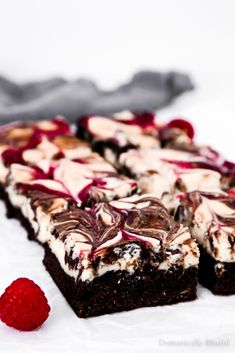 These Raspberry Cheesecake Brownies have a homemade creamy cheesecake, sweet raspberries, & a rich chocolate brownie that make it the perfect dessert for summer parties & Valentine's Day. for parties, Raspberry Cheesecake Brownies 13 Desserts, Brownie Desserts, Brownie Recipes, Chocolate Desserts, Delicious Desserts, Easy Raspberry Desserts, Easy Desserts To Make, Chocolate Raspberry Brownies, Raspberry Recipes