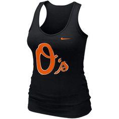 Nike Baltimore Orioles Ladies Logo Shine Premium Tank Top - Black