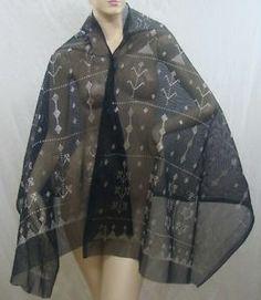 Authentic Egyptian Black Tulle Bi Telli Assuit Shawl Belly Dance Scarf Sale   eBay