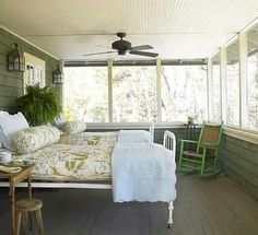Sleeping porch, reminds me as a child visiting my grandmother's cottage in Cape Cod, wonderful...